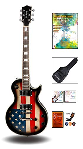 Leo Jaymz Full Size Single Cut Electric Guitar – with Amazing US Flag Sticker on Curved Top – Grover Machine Heads… 41fBYBcZFFL