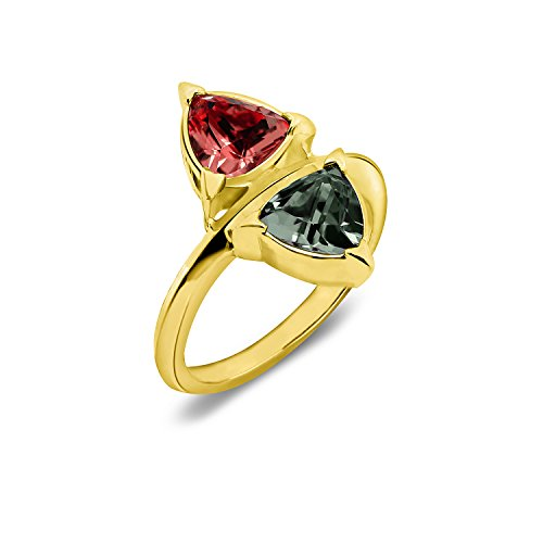 Nicole Miller New York Double Trilliant Ring, Gold ox Plated, Size 6