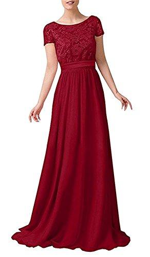 Herrlich La Linie Abendkleider Spitze mit Dunkel Blau Rot mia Lang Rock Ballkleider A Royal Braut Kurzarm Partykleider Dunkel rqxwAREn7q