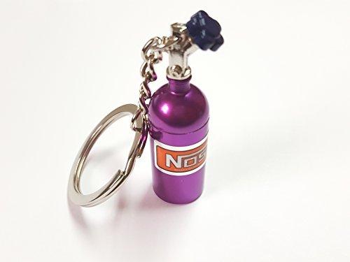 1x NOS Power Lachgas Flasche Einspritzung Schlüsselanhänger aus ALU in lila Schlüssel KFZ PKW G60 G40 VR6 16V Flasche mit abnehmbarnen Deckel Anhänger ca 10, 0 Lang & 1, 6 Breit ore 6416