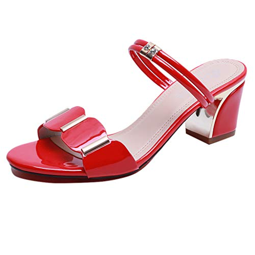 (Sunhusing Womens Mid-Heels with Square Heel Two-Wear Slippers Sandals Summer Casual Indoor Outdoor Shoes Red)