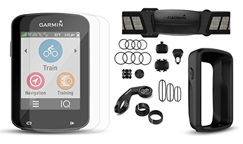 Garmin Edge 820 Cycle Bundle with Chest HRM, Speed/Cadence Sensors, PlayBetter Silicone Case & HD Glass Screen Protectors (2-Pack) | Touchscreen Display, GPS Bike Computer (Black Case, +Bundle)