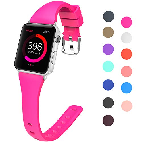 Lwsengme Sport Silicone Bands Compatible with Apple Watch 38mm 40mm 42mm 44mm, Choose Color-Slim Rubber Strap for iWatch Series 4, Series 3, Series 2, Series 1 Nike+ Women