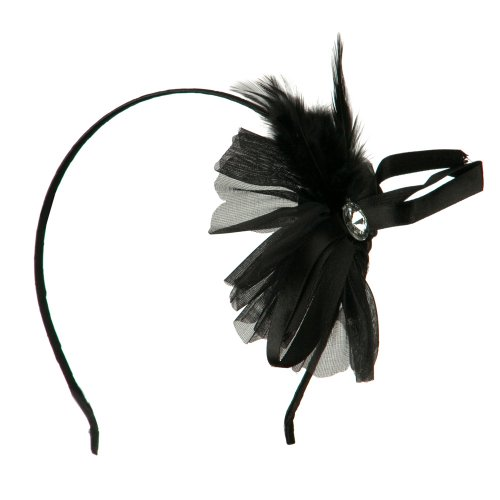 (MAGID Flower Headband with Feather - Black OSFM)