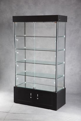 new retail lighted tower display case with adjustable shelves aluminum framing. Black Bedroom Furniture Sets. Home Design Ideas