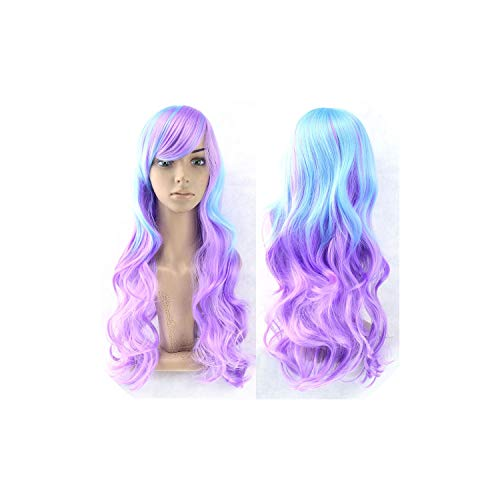 vivid-blue 13 Colors Wavy Women Wig High Temperature Fiber Synthetic Hairpiece Long Ombre Hair Wigs,NC/4HL,28inches from vivid-blue wigs