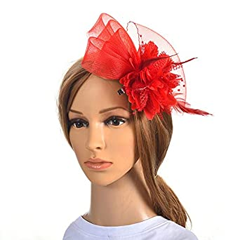 JYDIY Mesh Net Wedding Party Fascinator for Woman Girls Feather Hair Accessories