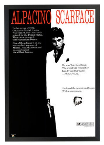 Scarface movie al pacino black and white framed poster art print 24