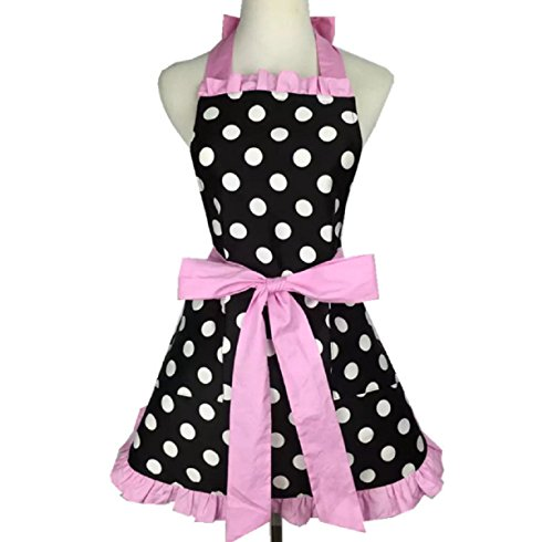 Aprons for Women Retro Vintage Aprons, Cooking Kitchen Aprons Plus Size with Extra Ties & Pocket 28.3 x 24.4 (Pink)