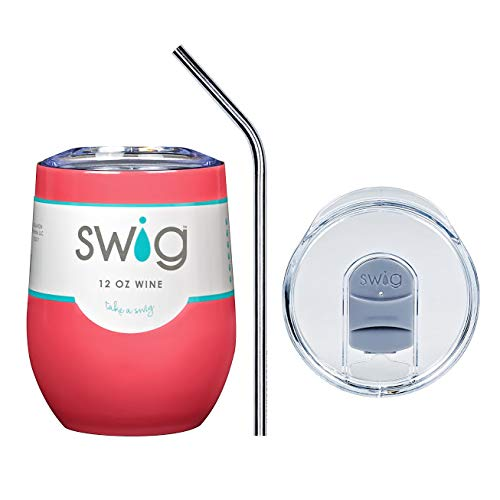(Swig Authentic Classic 12oz (ounce) Wine Tumbler Cup Mug Combo with Sliding Spill Proof Lid and Custom Engraved Stainless Steel Straw (Coral) )