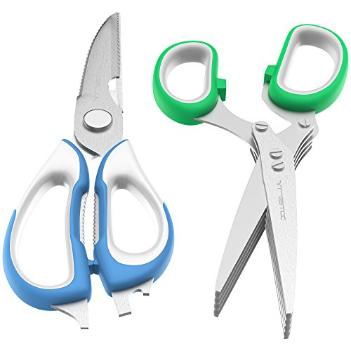 Vremi Kitchen Shears, Kitchen Scissors for Meat Poultry Fish Herbs Nuts, Herb Scissors Set - Heavy Duty Easy Function Come Apart Multipurpose Culinary Scissors in Stainless Steel with Blade Covers