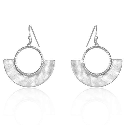 LOVE&CLOVER Latest Open Drop Earrings Hammered Women Gifts (Fan-Shaped Silver) ()