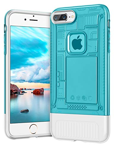 AEMOTOY Case for iPhone 7 Plus,iPhone 8 Plus Case Slim Fit Shockproof iPhone 7 Plus Case Dual Layer Heavy Duty Hard Translucent PC Back Protective Soft TPU Inner Cover for iPhone 7/8 Plus,5.5- Blue