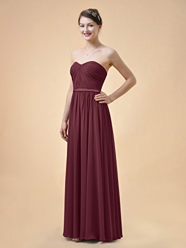 Party Dress Line Alicepub Prom Evening Long Dress Chiffon Sweetheart Bridesmaid A Red xxq1AF