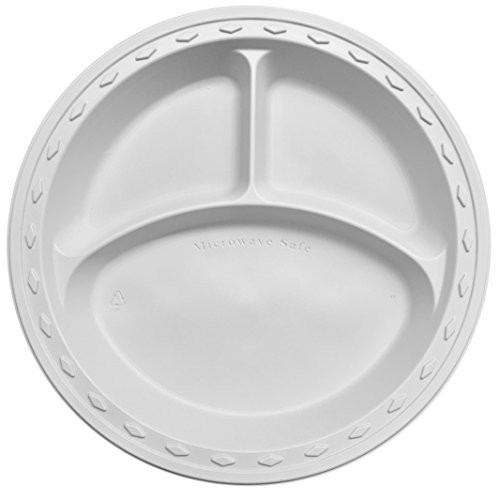 (Simply Deliver 9-Inch Plastic Plate, 3-Compartments, Microwavable and Dishwasher Safe, White, 500-Count)