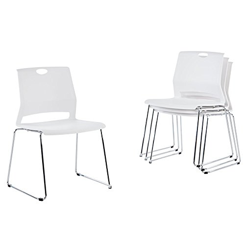 (Sidanli White Plastic Stackable Chairs-(Set of 4))