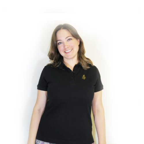 Women's Polo Shirt (Large, Black)