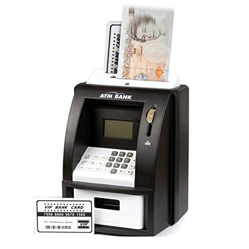 Taylor & Brown® Black Electronic Coin Note Money Counting Atm Box Saving Safe Digital Piggy Bank