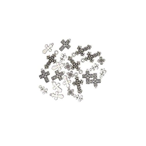Pewter Cross Charms (Charm Cross Antique Silver Plated Pewter 12-26mm Package of 25 - WBA2452FN)