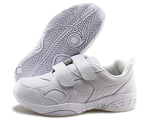 - Jabasic Boys Girls Hook Loop Sport School Shoes Kids Comfortable Sneakers (White-1,1)