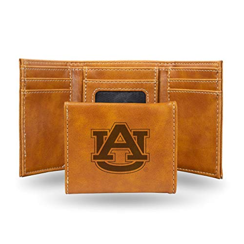 Rico Industries NCAA Auburn Tigers Laser Engraved Tri-Fold Wallet, Brown