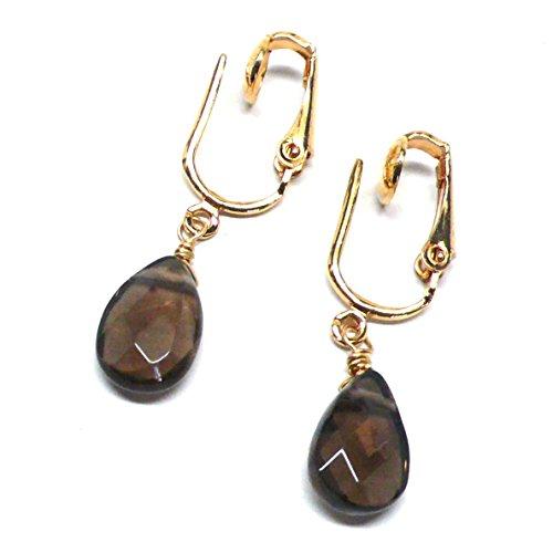 - Created Smoky Quartz Briolette Clip-On Non-Pierced Earrings Gold-Tone