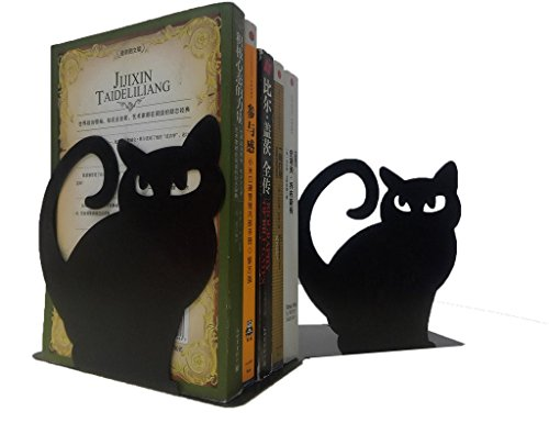 Winterworm Cute Vivid Lovely Persian Cat Nonskid Thickening Iron Metal Bookends Book Organizer For Library School Office Home Study Desk Organizer Perfect Mother's Day Gift(Black) by Winterworm