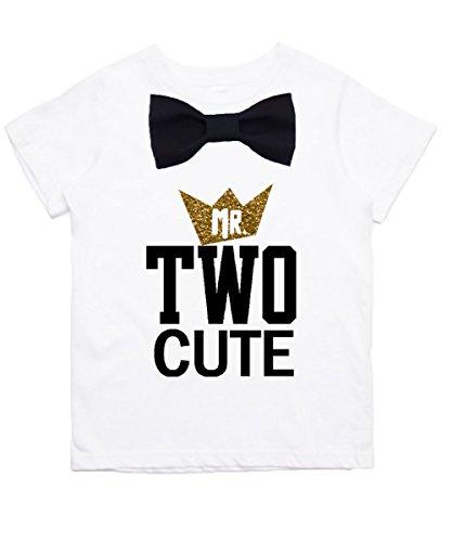 Noahs Boytique Boys 2nd Birthday Shirt Two Cute Black and Gold Bow Tie