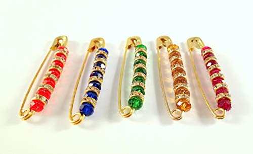 Sarvam Decorative Safety Pins One Side of Pin Decorated with Multicolored Glass Beads Brooch Saree Pins Set of 5
