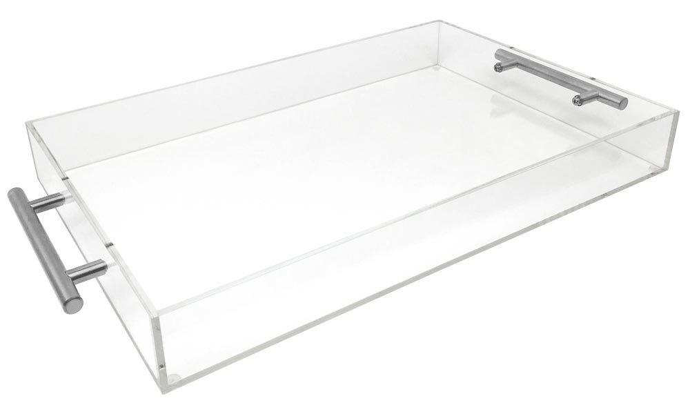 Isaac Jacobs Clear Acrylic Tray with Handle (11x17, Clear with Silver Handle)