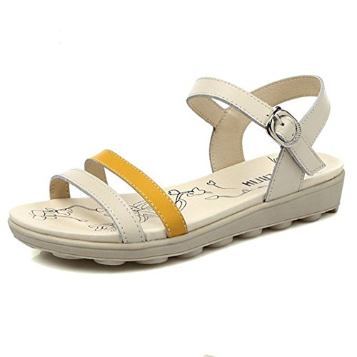 Bottom Flatforms Shoes LongFengMa Fashion Strappy Floral Yellow Sandals Women FZY1ZS