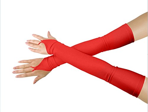 - Shinningstar Girls' Boys' Adults' Stretchy Lycra Fingerless Over Elbow Cosplay Catsuit Opera Long Gloves (red)