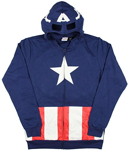 Marvel Captain America Costume Full Zip Adult Hoodie With Backpack (Medium) (Captain America Hoodie With Mask compare prices)