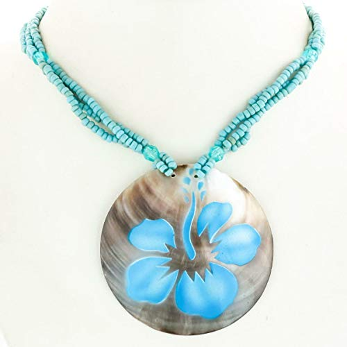 2 3/8'' Round Painted Mother of Pearl Pendant Shell Necklace YE-3062