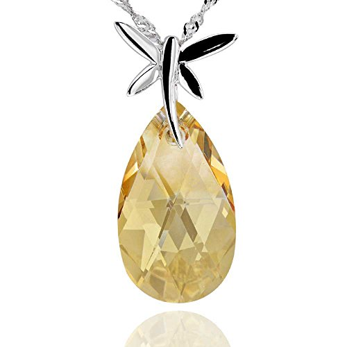(GemsChest Sterling Silver Pear Shaped Swarovski Crystal Dragonfly Pendant Necklace 17
