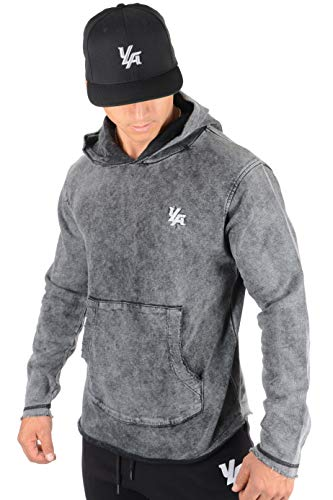 YoungLA Pullover Long Sleeve Hooded Sweatshirt Raw Edge Pockets 502 Black Acid Washed Large