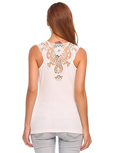 Tank Ribbed Lace Top (Zeagoo Women's Workout Hollow Out Lace Back Yoga Ribbed Tank Top White M)