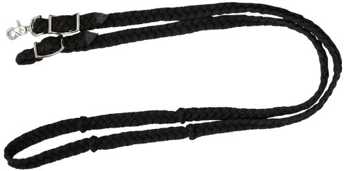 Tough 1 Knotted Cord Roping Reins, Black
