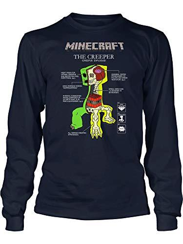 Tee Creeper - JINX Minecraft Creeper Anatomy Boys' Long-Sleeve Tee Shirt (Navy, Medium)