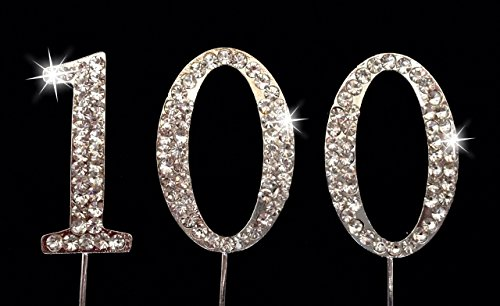 100th Birthday Number Cake Topper with Sparkling Rhinestone Crystals - 1.75