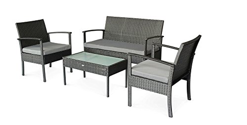 Stellahome Rattan Patio Furniture Sets 4 Pieces Outdoor Seating Wicker Porch Furniture Loveseat and Chairs with Extra Cushion Covers for Replacement (Wicker Clearance Furniture Porch)