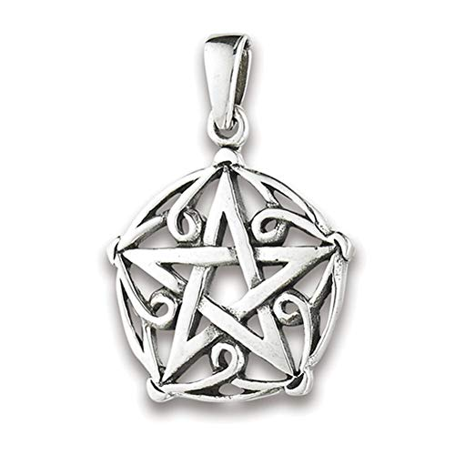 (Star Pentagram Pendant .925 Sterling Silver Endless Knot Ornate Filigree Charm Jewelry Making Supply Pendant Bracelet DIY Crafting by Wholesale Charms)