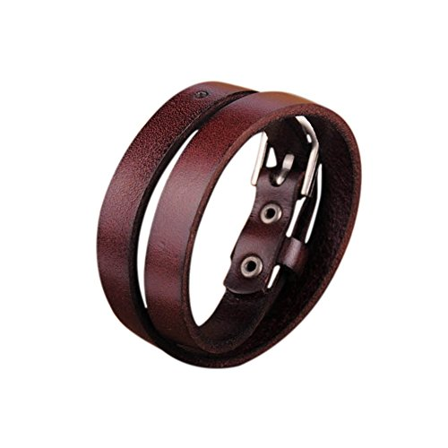 Bracelet Buckle Hook (Zen Styles Brown Biker Rock Classic Double Wrap Leather Cowhide Buckle Bracelet – Round Cuff Bracelet with Easy Hook Clasp for Men. Fashion Accessories)