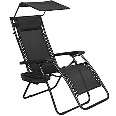 Best Choice Products Zero Gravity Canopy Shade Lounge Chair Cup Holder Patio Outdoor Garden Black