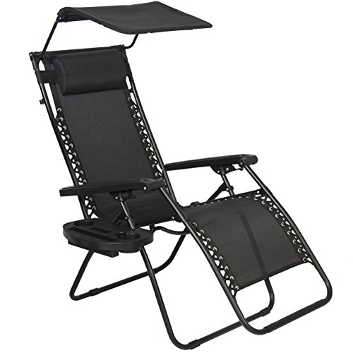 Best Choice Products Zero Gravity Canopy Sunshade Lounge Chair Cup Holder Patio Outdoor Garden Black