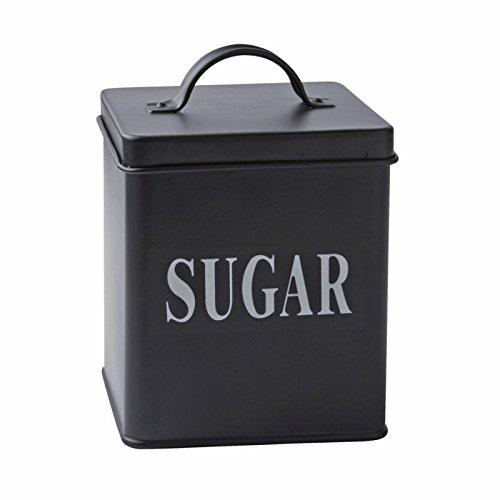 Boite à Sucre–Traditionnel/Rétro/Vintage Style Noir en Acier Coloré Bidon/Caddy/Cuisine Étain avec Bloc Blanc Lettres pour Sucre Buzz