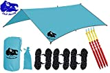 Chill Gorilla 10x10 Swallowtail Hammock Rain Fly Camping Tarp. Ripstop Nylon. 170'' Centerline. Stakes, Ropes & Tensioners Included. Camping Gear & Accessories. Perfect Hammock Tent. Blue