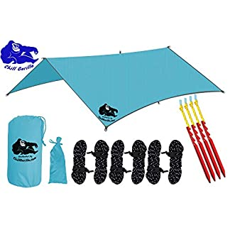 Chill Gorilla 10x10 Hammock Waterproof Rain Fly Tent Tarp. Stakes Included.