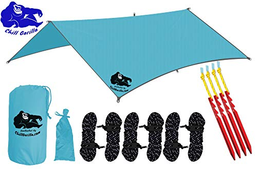 """Chill Gorilla 10x10 Swallowtail Hammock Rain Fly Camping Tarp. Ripstop Nylon. 170"""" Centerline. Stakes, Ropes & Tensioners Included. Camping Gear & Accessories. Perfect Hammock Tent. Blue"""
