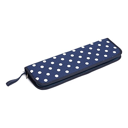 Hobby Gift Polka Dot Design Zipped Rigid Knitting Needle Case White Spots on Navy (13 x 40 x 4cm) Filled with Knitting Needles in a Range of Sizes by Hobby Gift
